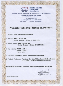 Protocol of initied type testing No.P/0108/11